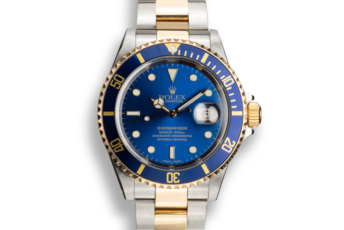 2000 Rolex Two-tone Submariner 16613 Blue Dial with Box and Papers photo, #0