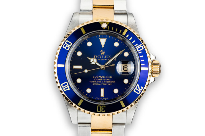 2000 Rolex Two-Tone Submariner 16613 Blue Dial photo