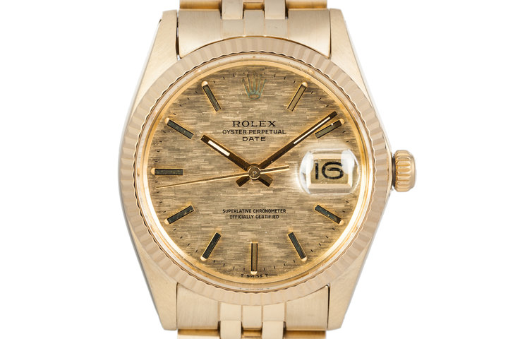 1973 Rolex Date 1500 14K YG Mosaic Dial photo
