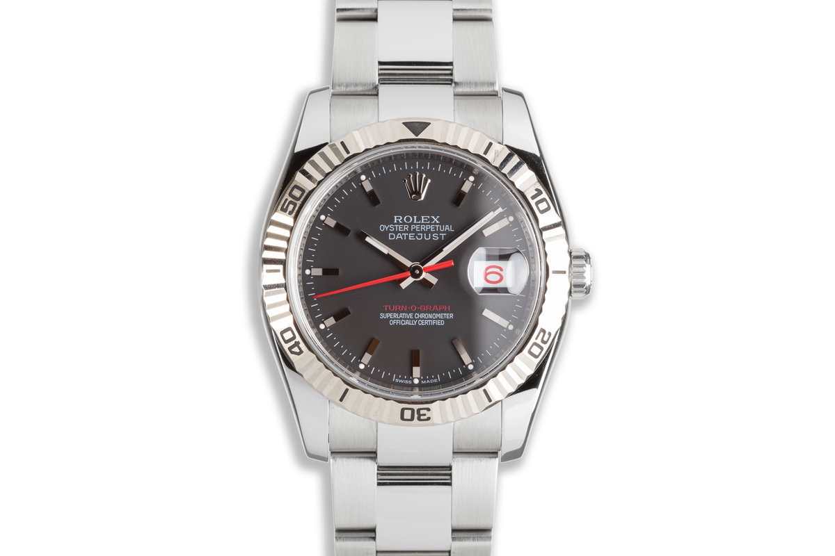 2007 Rolex DateJust Turn-O-Graph 116264 Black Dial & Red Date Wheel photo, #0