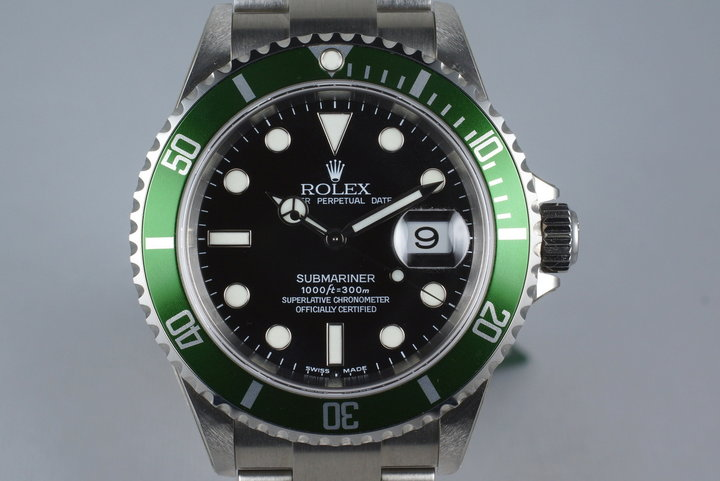 2004 Rolex Green Submariner 16610LV Mark I with Box and Papers MINT photo