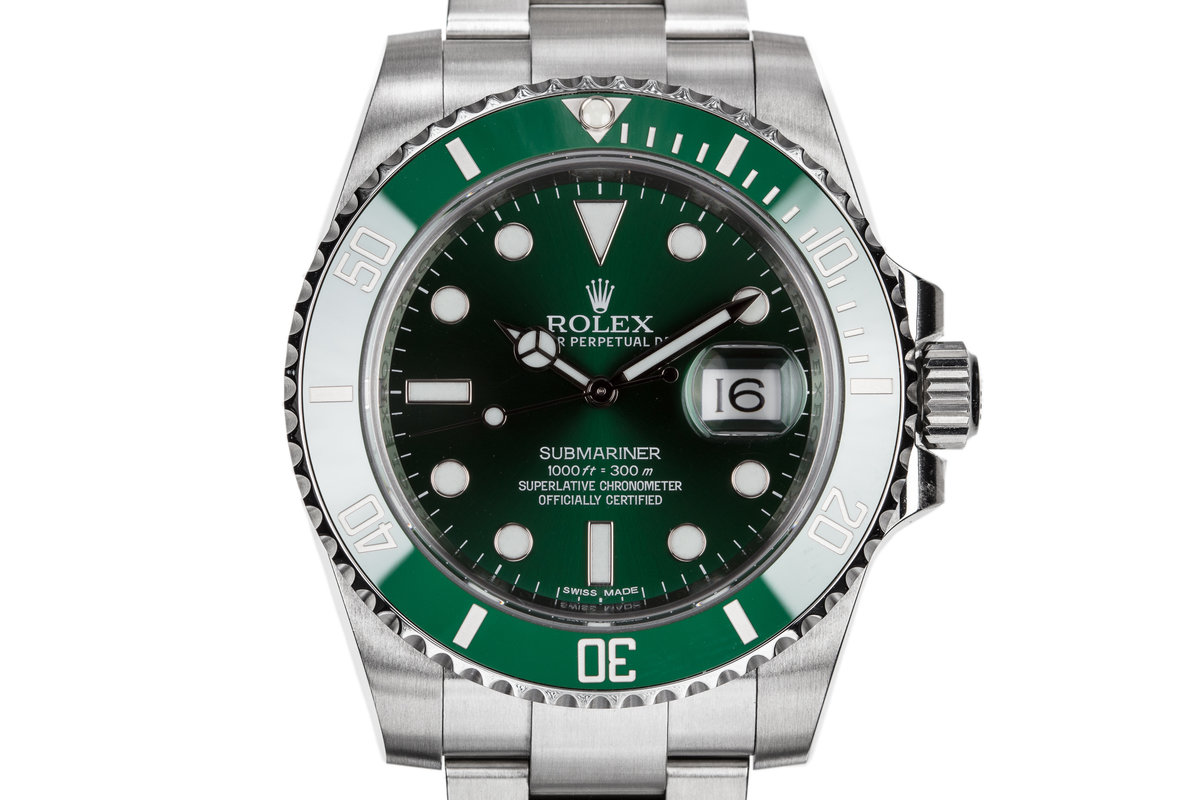 "2014 Rolex Green Ceramic Submariner 116610LV ""Hulk"" with Box and Papers photo, #0"