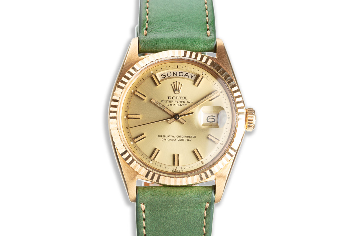 """1971 18K YG Vintage Rolex Day-Date 1803 Gold Dial """"Wide Boy"""" Hands & Markers photo, #0"""