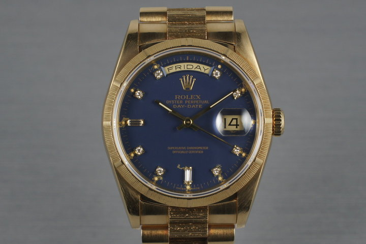 1989 Rolex Bark Day Date Ref: 18248 with Factory Blue Diamond Dial photo