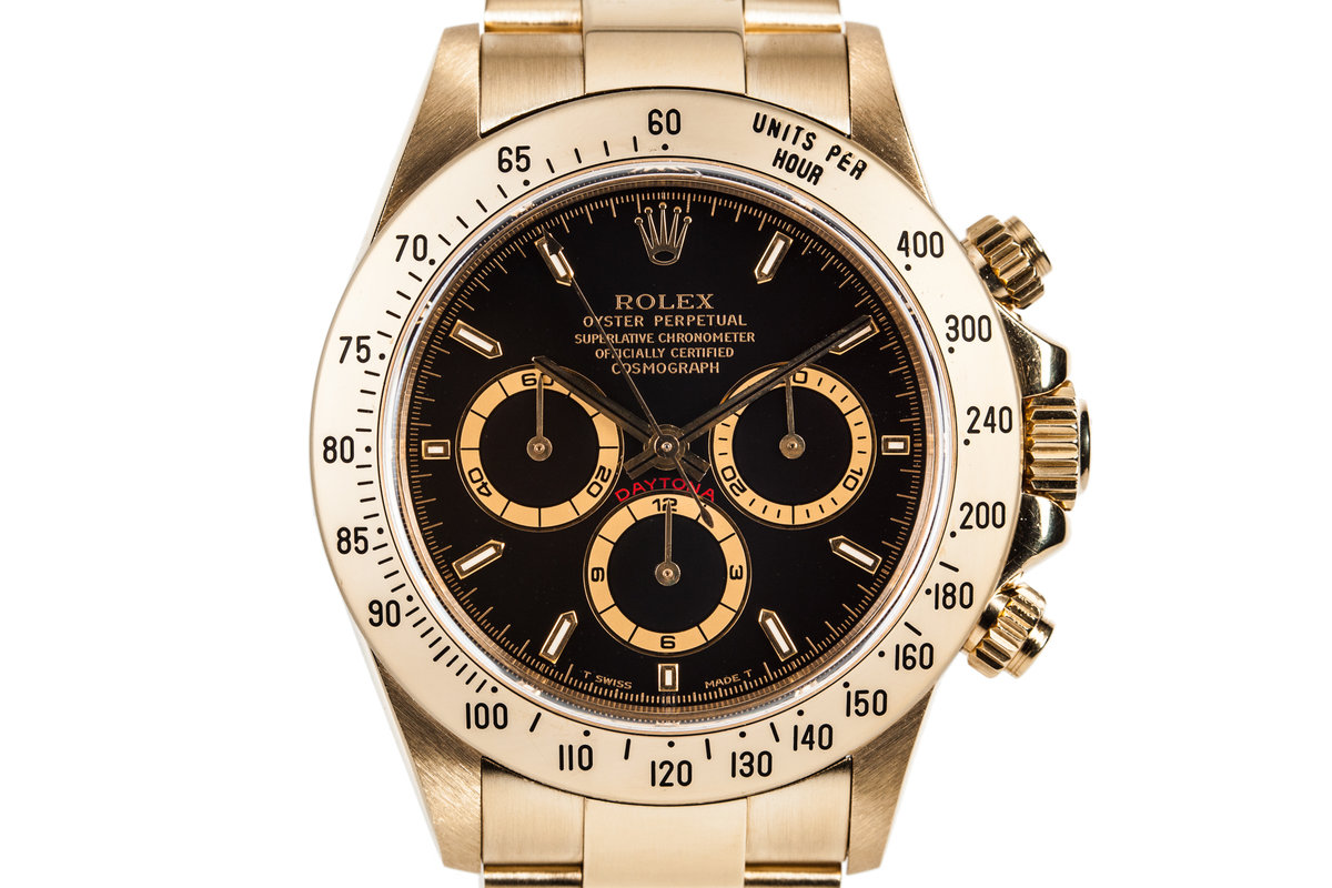 1995 Rolex 18K Gold Zenith Daytona 16528 with Black Dial photo, #0