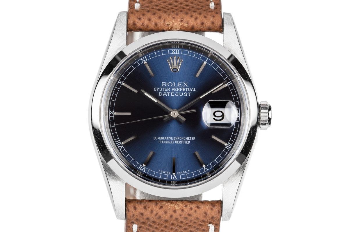 1997 Rolex DateJust 16200 Blue Dial photo, #0