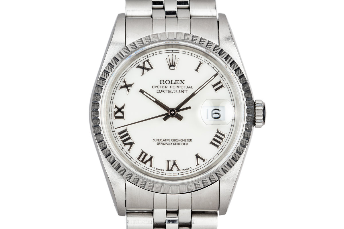 1991 Rolex DateJust 16220 With White Roman Numeral Dial photo, #0