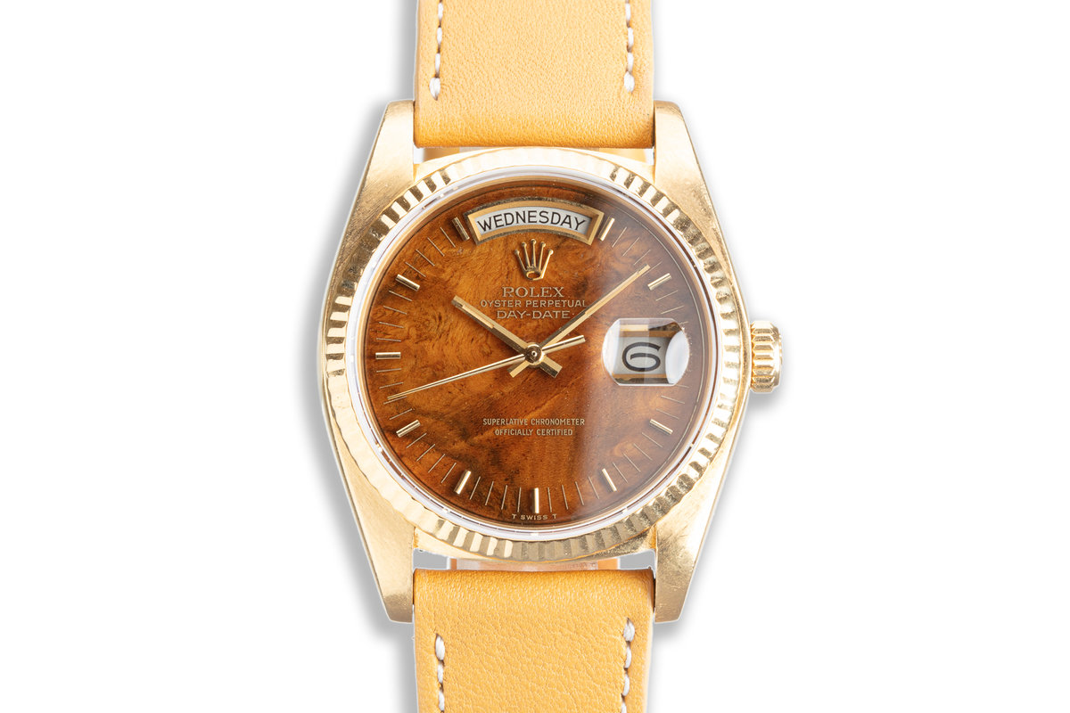 1983 Rolex 18K YG Day-Date 18038 Wood Dial photo, #0