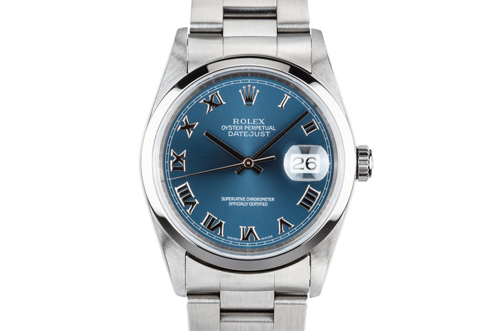 2005 Rolex DateJust 16200 Blue Roman Numeral Dial photo