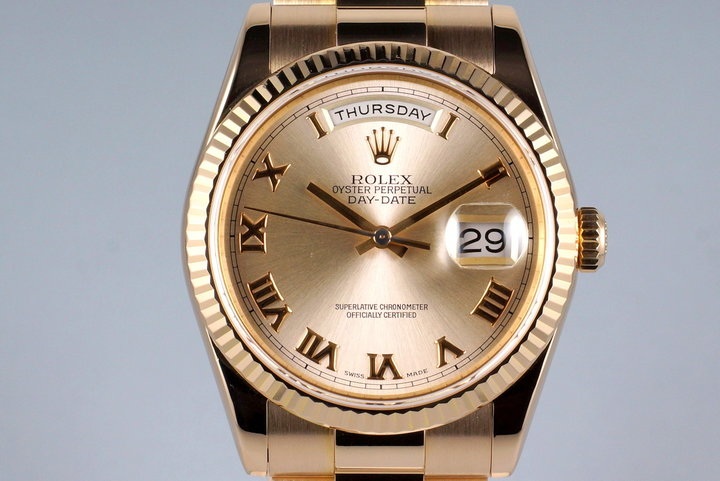 2000 Rolex RG Day-Date 118238 Rose Gold Roman Dial with Box and Papers photo