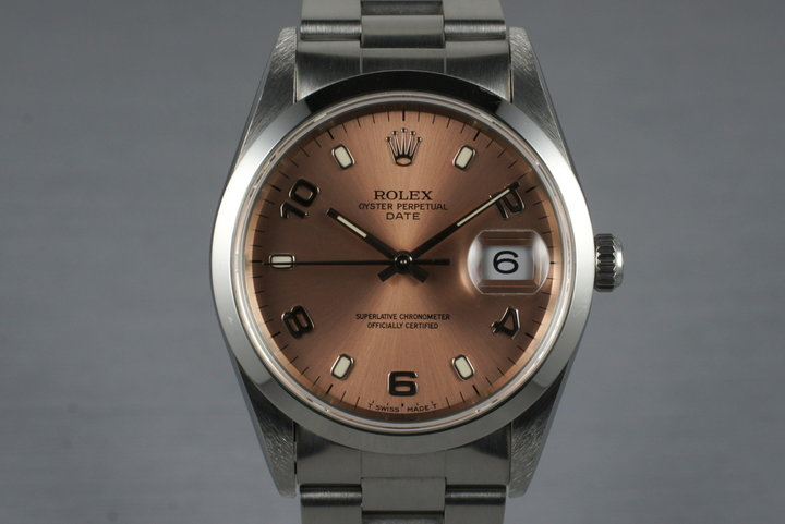 1995 Rolex Pink Arabic Dial Date 15200 with Box & Papers photo
