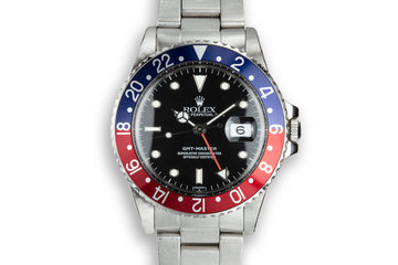 """1986 Rolex GMT-Master 16750 """"Pepsi"""" with """"SWISS"""" Only Service Dial photo"""