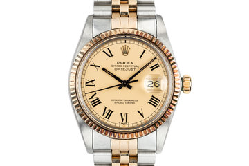 "1980 Rolex Two-Tone DateJust 16013 With Matte Gold ""Buckley"" Dial photo"