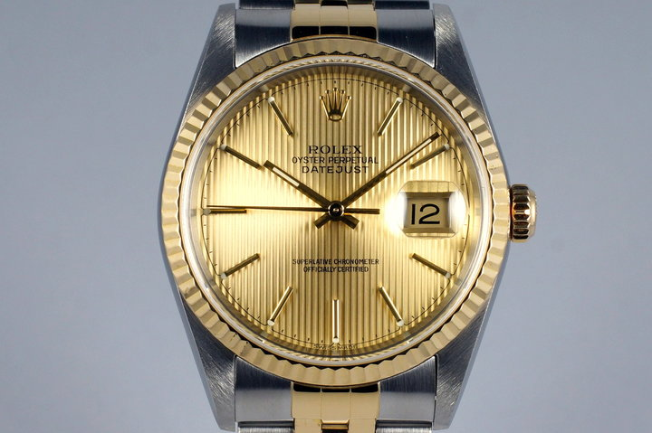 2001 Rolex Two Tone DateJust 16233 Tapestry Dial with Box and Papers photo