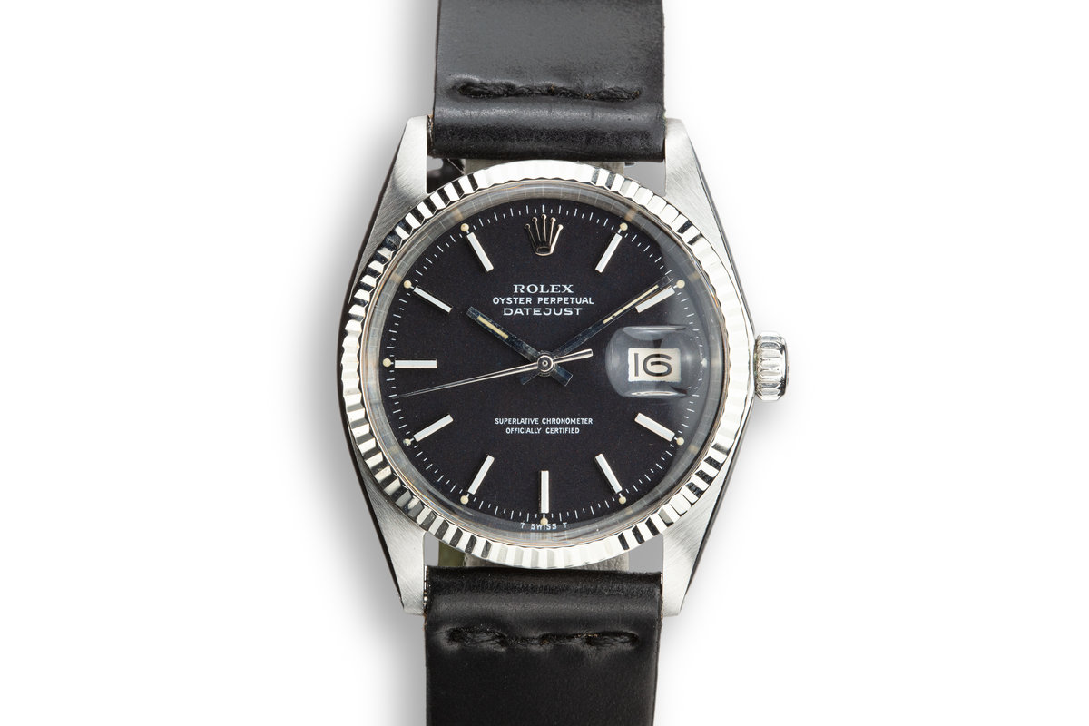 "1972 Rolex DateJust 1601 Black ""Confetti"" dial with Papers photo, #0"