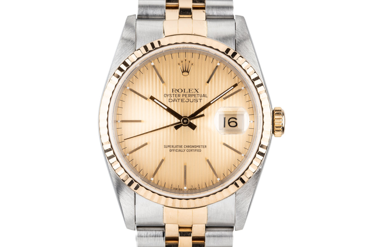 1990 Rolex Two Tone DateJust 16233 with Gold Tapestry Dial photo, #0