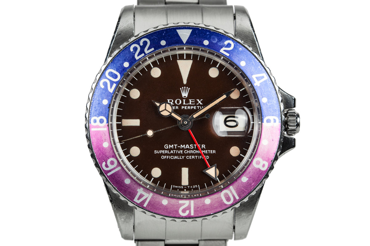 1967 Rolex GMT-Master 1675 with Tropical Brown Dial and Fuchsia Bezel Insert photo, #0