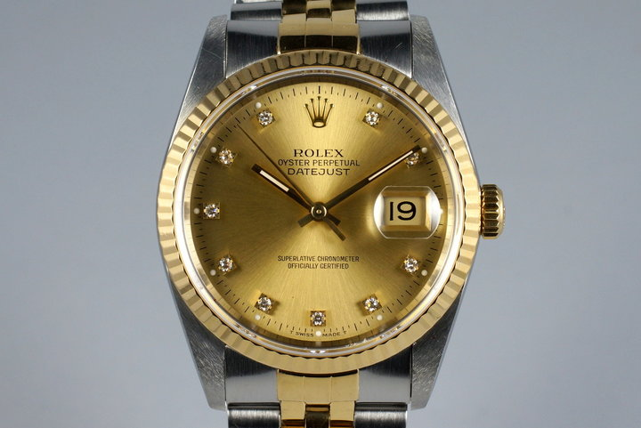 1990 Rolex Two Tone DateJust 16233 with Factory Champagne Diamond Dial photo