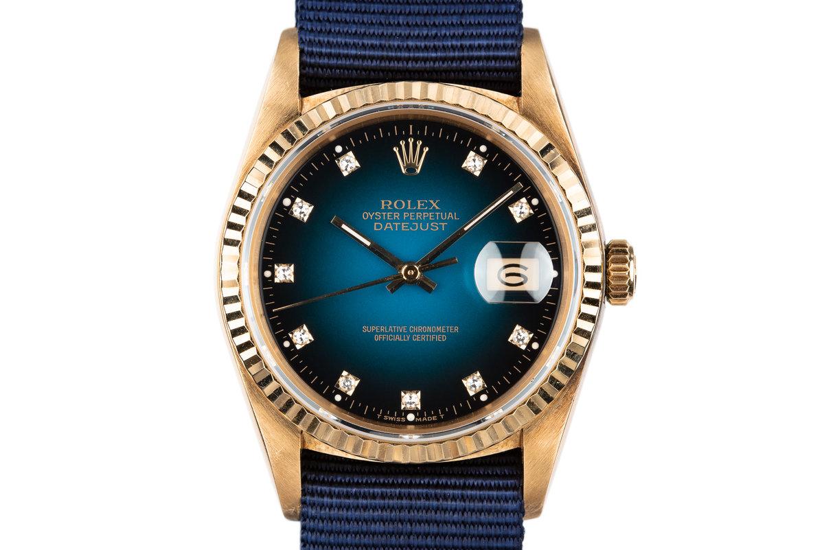 1983 Rolex 18K YG DateJust 16018 with Blue Vignette Diamond Dial photo, #0