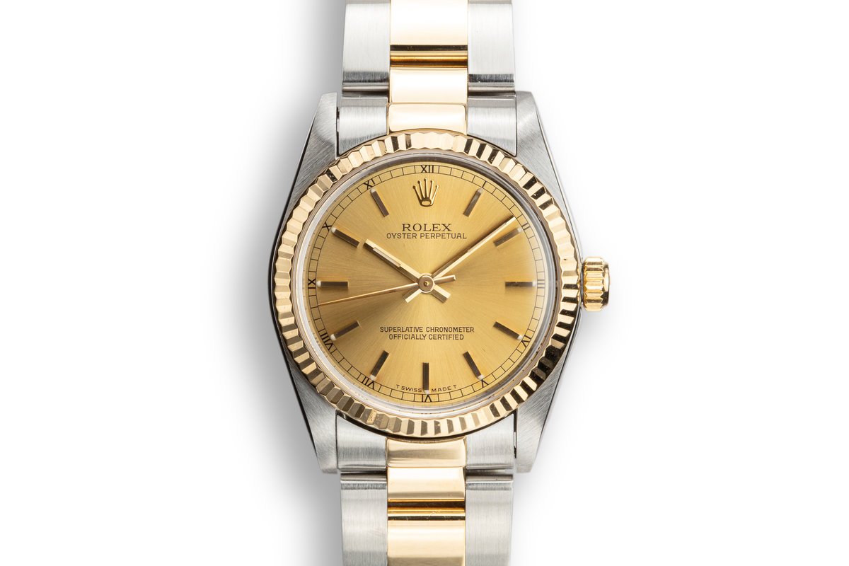 1993 Rolex Two-Tone Oyster Perpetual Midsize 67513 Champagne Dial photo, #0