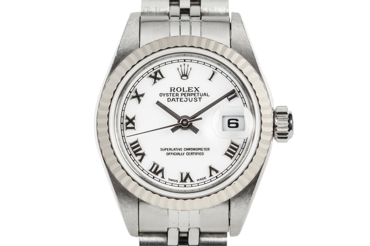 1999 Rolex Ladies Datejust 69174 with White Gold Bezel and Box and Papers photo, #0