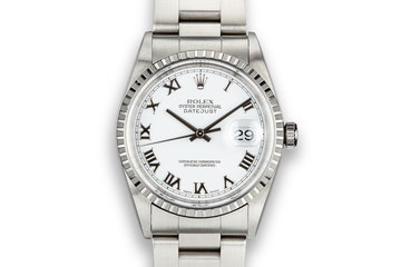 1999 Rolex DateJust 16220 White Roman Numeral Dial photo