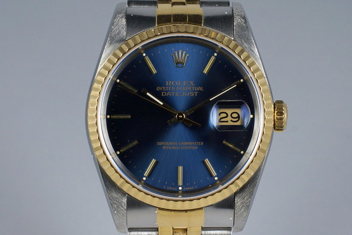1989 Rolex Two Tone DateJust 16233 Blue Dial photo