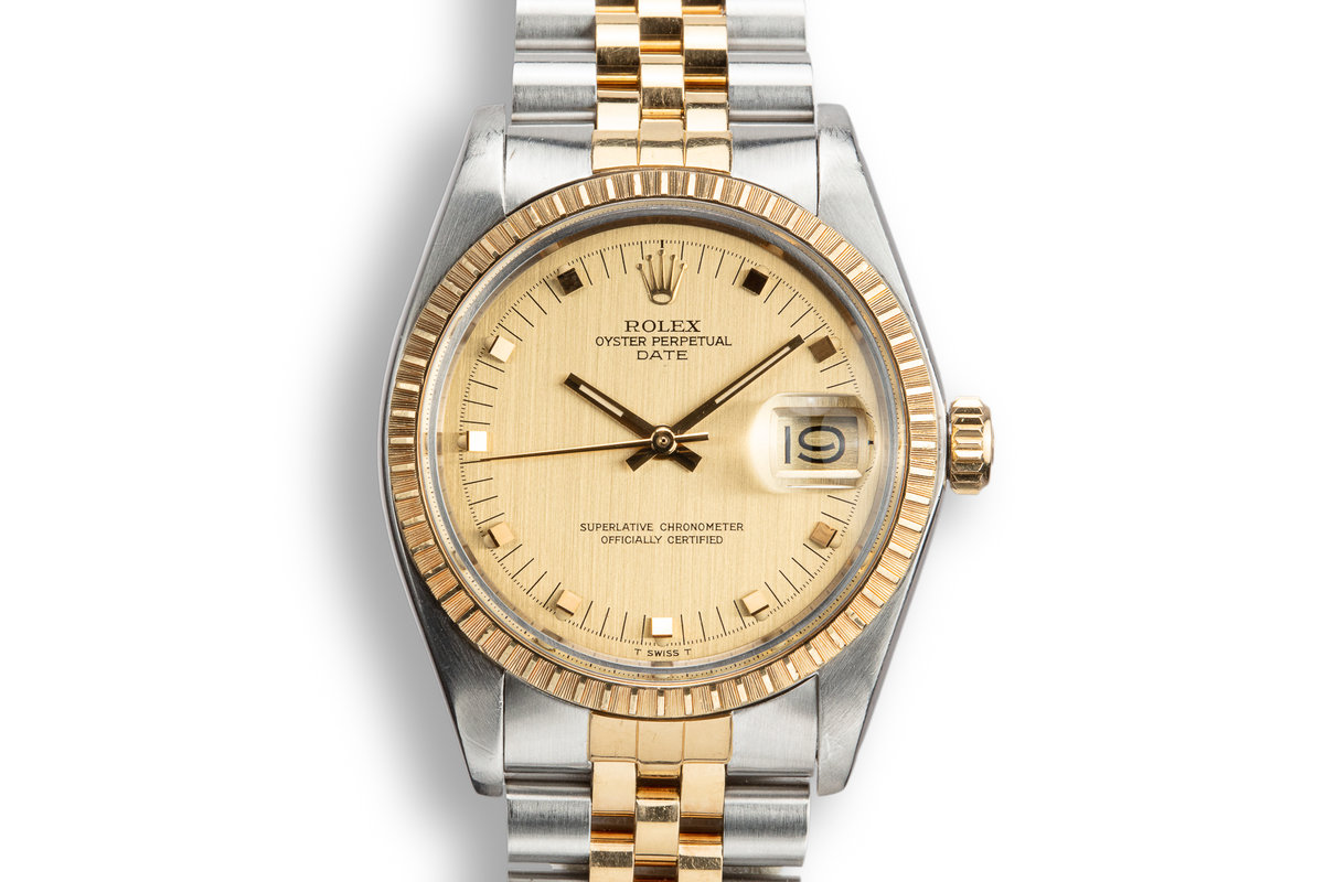 1978 Rolex Two-Tone Date 1505 Champagne Dial with Service Papers photo, #0