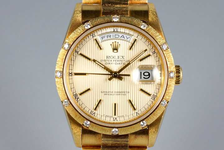 1988 Rolex YG Bark Day-Date 18308 Tapestry Dial with Factory Diamond Bark Bezel photo
