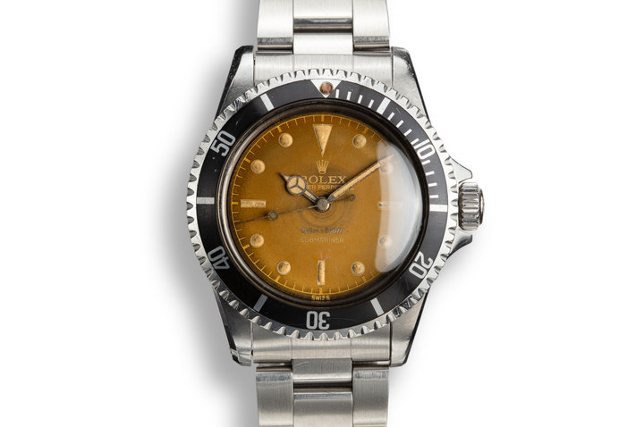 1960 Rolex Submariner 5512 Pointed Crown Guard Case with Tropical Gilt Chapter Ring Dial photo