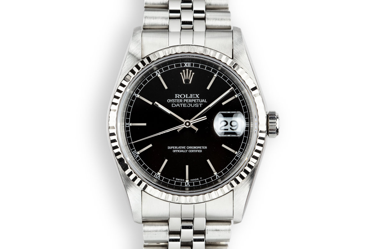 1996 Rolex DateJust 16234 Black Dial with Box and Papers photo, #0