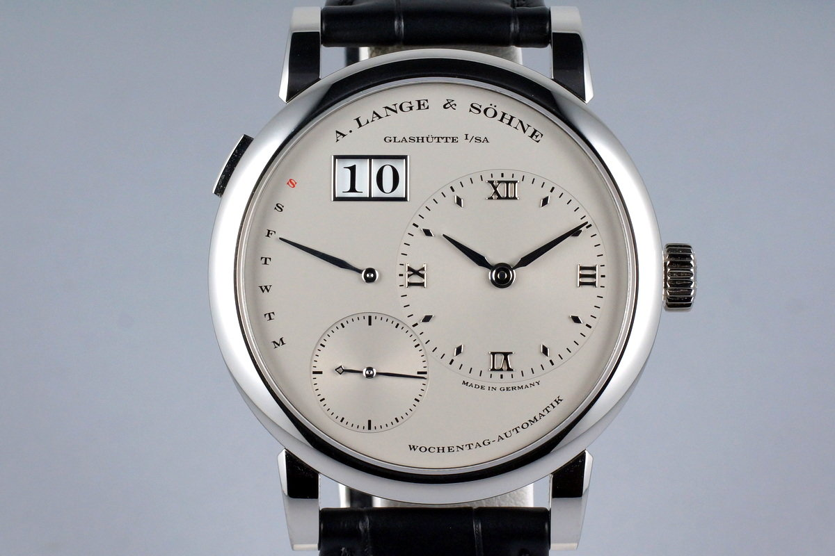 2015 A. Lange & Sohne Lange 1 Platinum Daymatic 320.025 with Box and Papers photo, #0