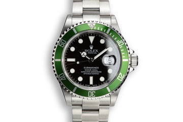 2003 Rolex Anniversary Green Submariner 16610 with Box and Papers and Mark 1 Dial photo