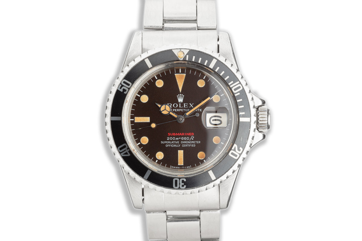 1969 Vintage Rolex MK 3 Chocolate Dial Red Submariner 1680 with Box & Papers photo, #0