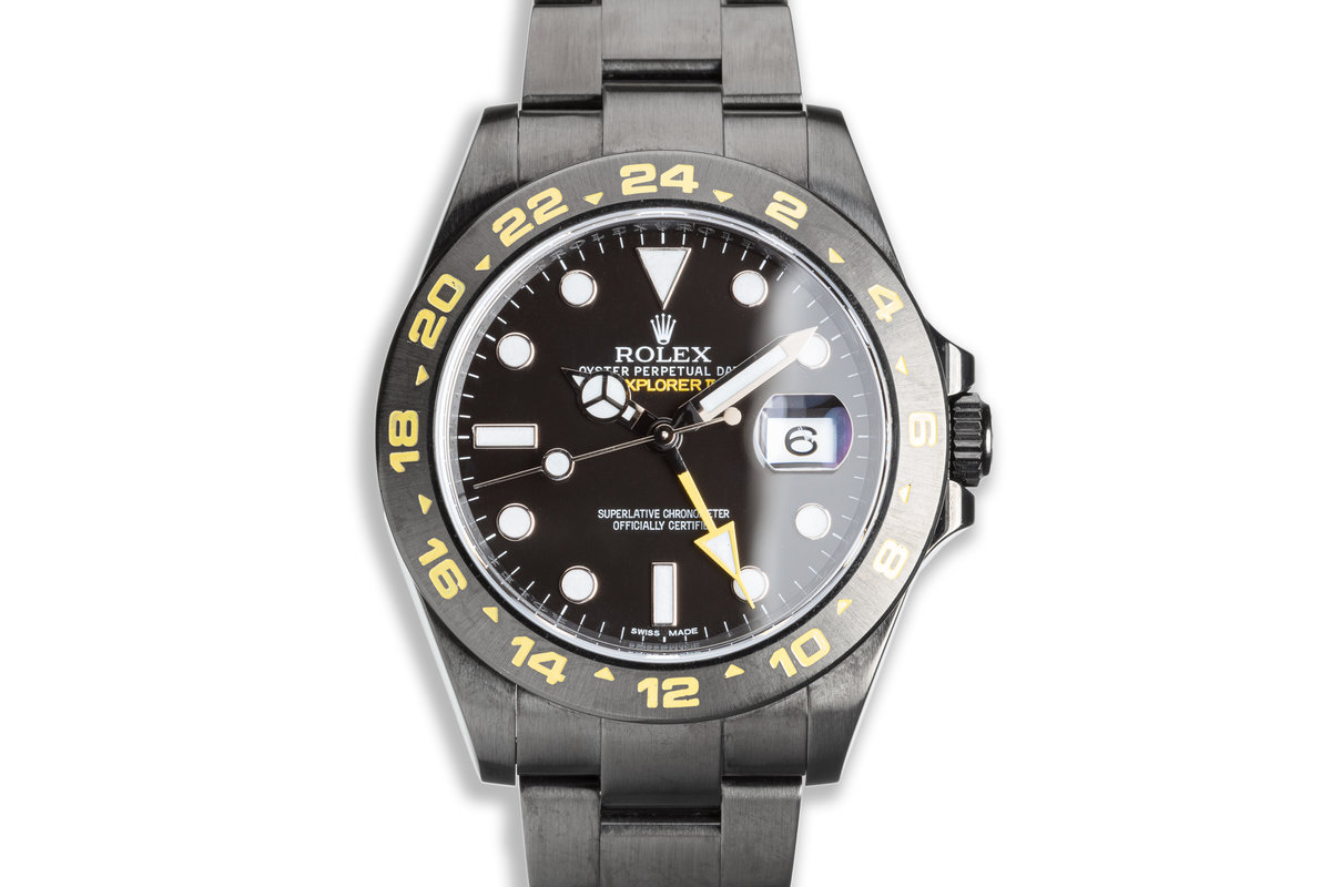 2013 Rolex Explorer II 216570 with Black PVD Coating & Yellow Accents with Box & Card photo, #0