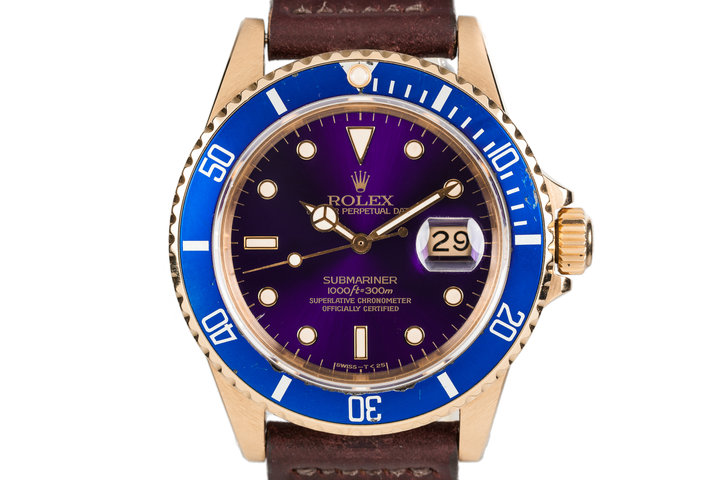1982 Rolex YG Submariner 16808 with Purple Dial photo