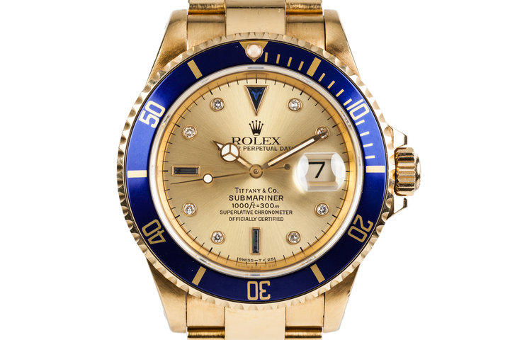 1990 Rolex YG Submariner 16618 Gold Tiffany & Co. Dial with Sapphire and Diamonds photo