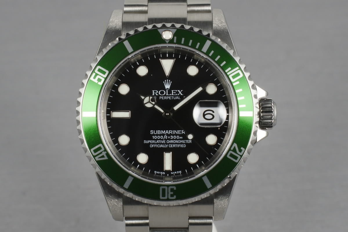2003 Rolex Green Submariner 16610 LV Mark 1 with Box and Papers photo, #0