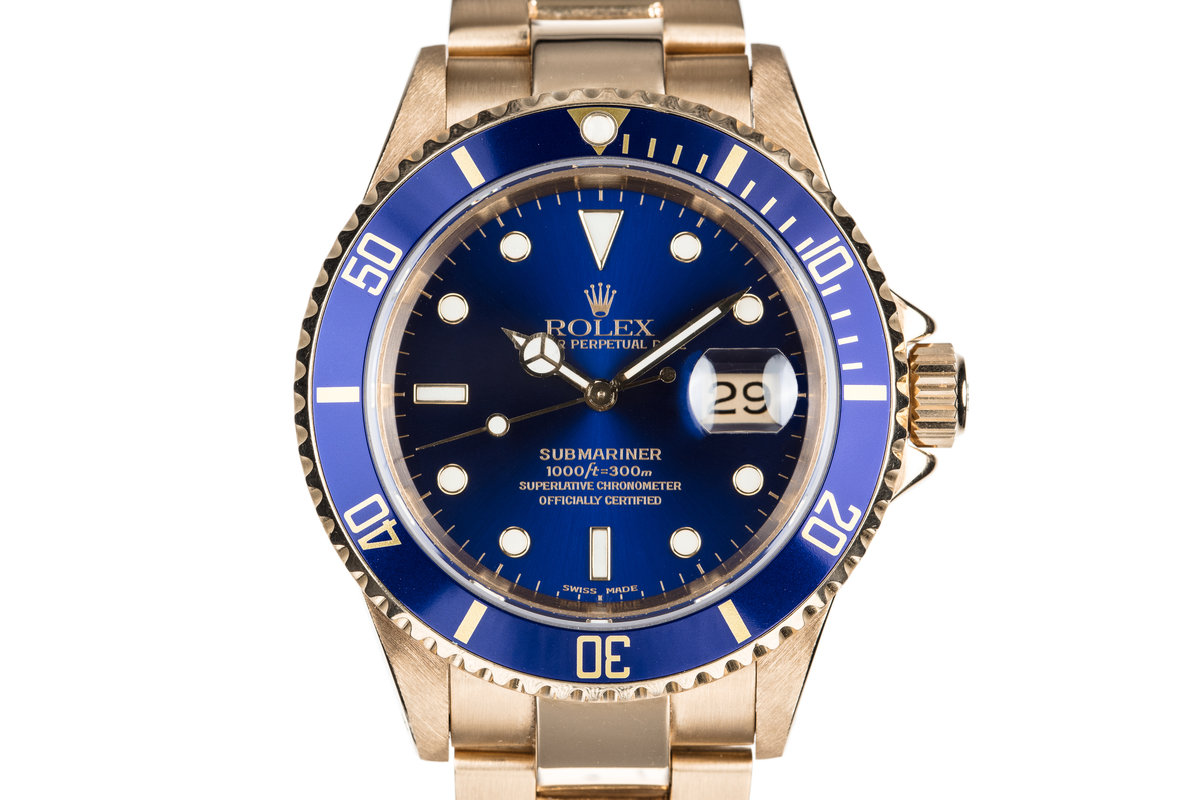 1990 Rolex 18K Submariner 16618 Blue Dial with Service Papers photo, #0