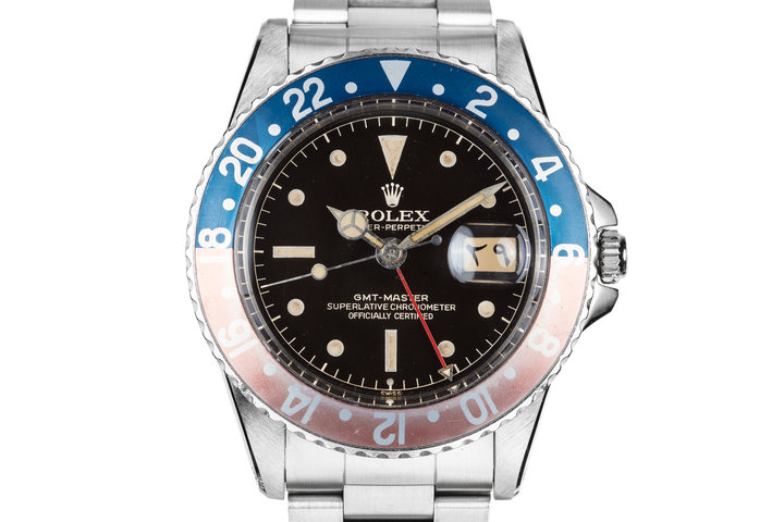 1961 Rolex GMT-Master 1675 with Gilt Chapter Ring Exclamation Dial and Arabic Date Disk photo