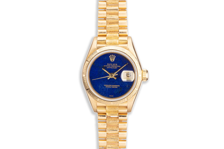 "1985 Rolex President Datejust 18K Yellow Gold Lapis Dial ""Swiss Only"" Ladies Watch 69278 photo"