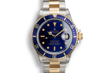 1988 Rolex Two-Tone Submariner 16803 with Service Papers photo