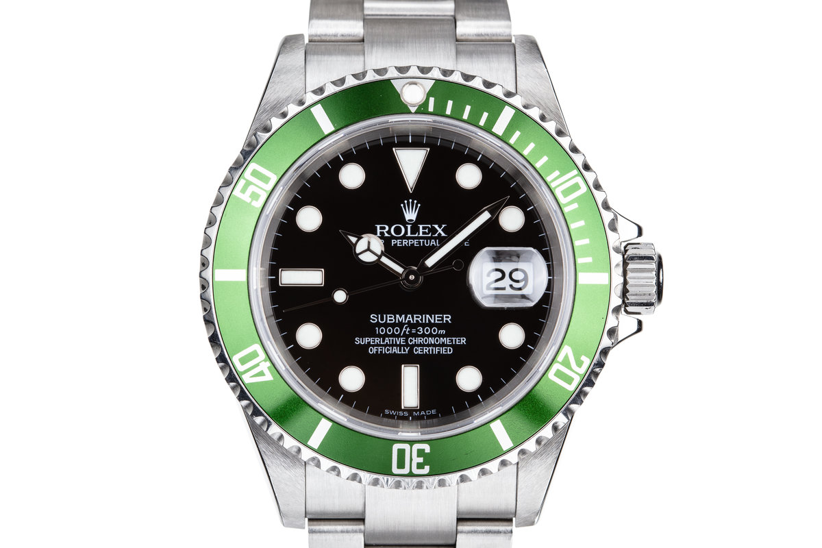 2003 Rolex Green Submariner 16610LV with Box and Papers photo, #0