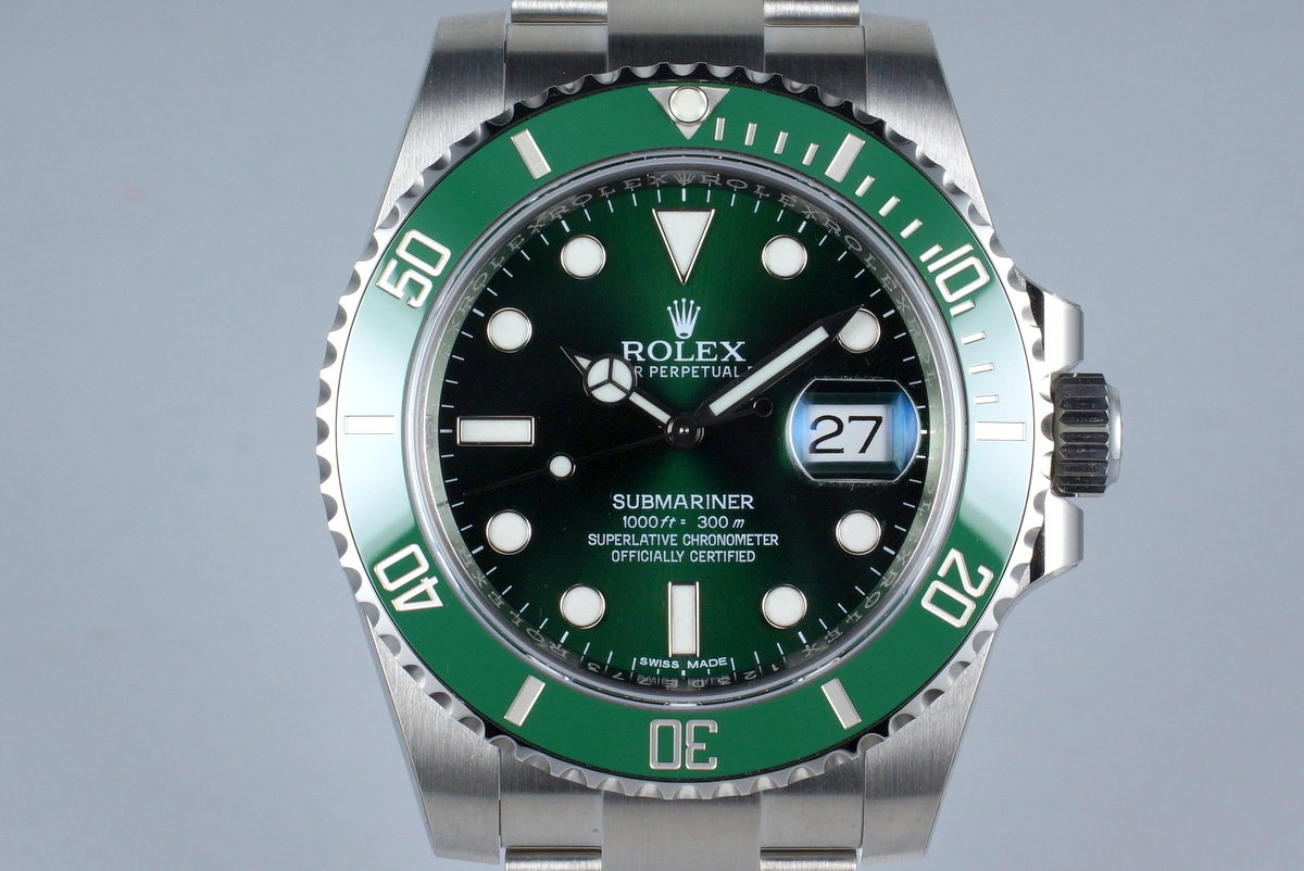 2015 Rolex Green Submariner 116610LV with Box and Papers MINT photo, #0