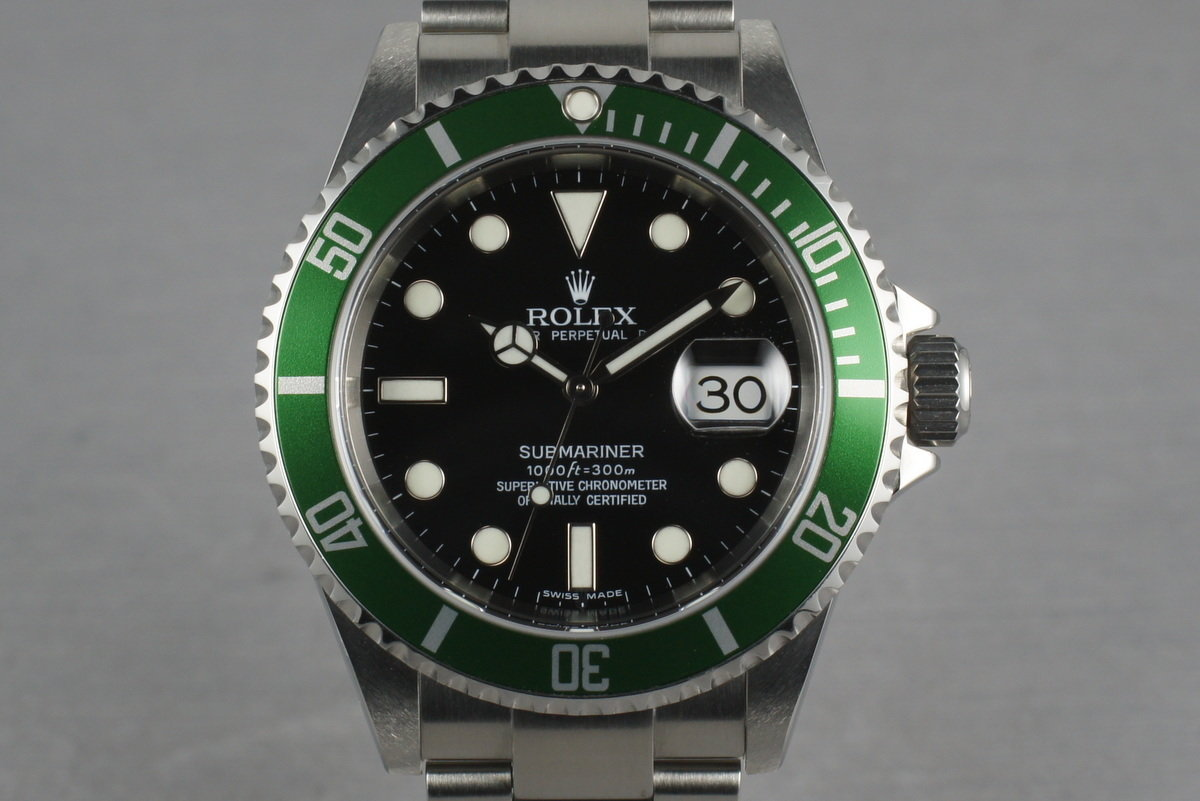 Rolex Green Submariner 16610 LV with Box and Papers Z serial photo, #0