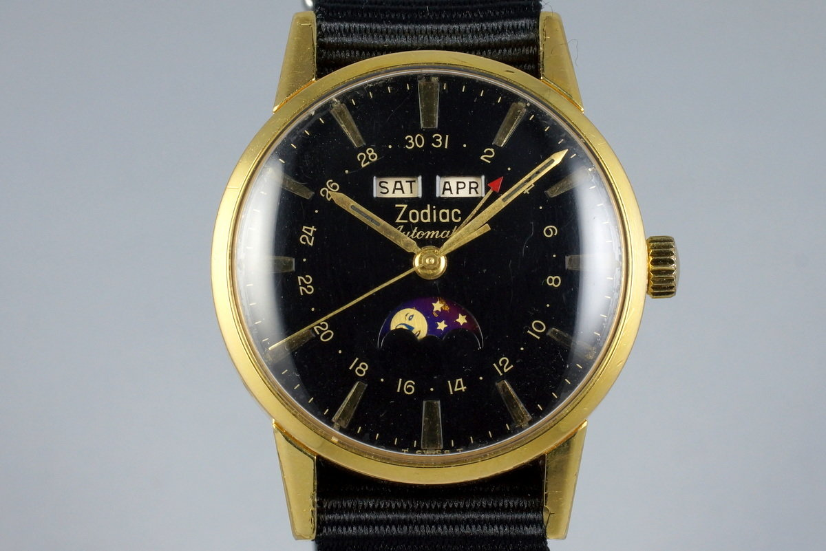 Late 1950's Zodiac YG Triple Date Moonphase Automatic 743-908 photo, #0