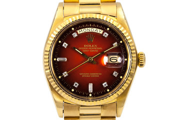 1978 Rolex YG Day Date 1803 Factory Diamond Red Vignette Dial photo