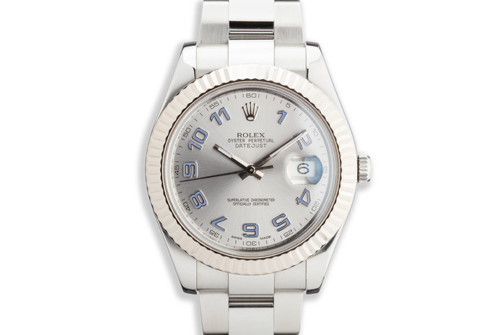 Rolex 41mm DateJust 116334 Silver Arabic Dial with Service Papers photo