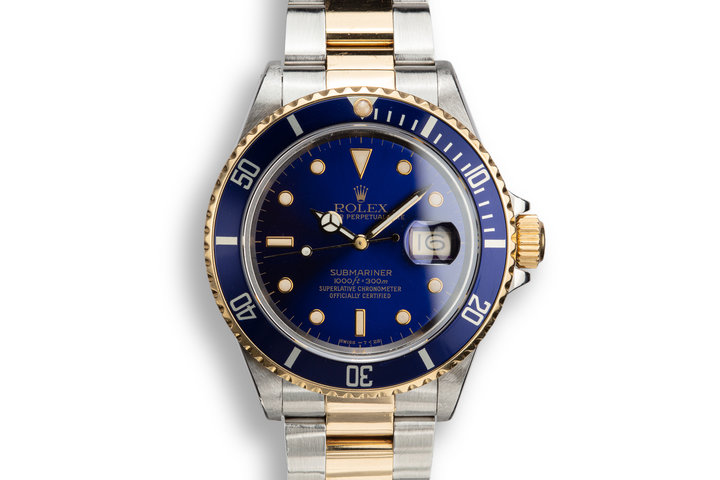 1988 Rolex Two-Tone Submariner 16803 Blue Dial with Box and Papers photo