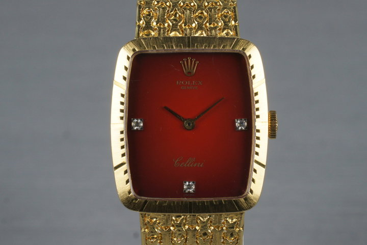 1975 Rolex YG Cellini 4080 with Diamond Red Stella Dial photo